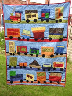 Pics of my finished train quilt!!!! - JustMommies Message Boards