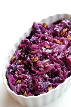 This Braised Red Cabbage with Walnuts has become my FAVORITE side dish. It goes with everything I make and it's Paleo and Vegan!