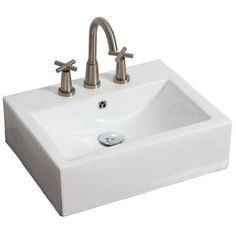 American Imaginations Wall Mounted Rectangle Vessel Bathroom Sink Faucet Mount: Single, Hardware Finish: Polished Aluminum