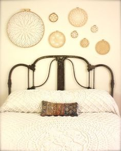 embroidery hoop art from doilies (Country Home) to bring a couple feminine touches to a masculine lodge
