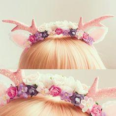 josiephone: cupcakesloveme:  Available now http://dollydarling.bigcartel.com/product/floral-deer-headband #dollydarling