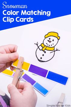 Practice colors with your toddlers or preschoolers and these cute Snowman Color Matching Clip Cards! Also great as a fine motor workout - what kid doesn't love clothespins? Fun Activities For Preschoolers, Fine Motor Activities For Kids, Printable Activities For Kids, Color Activities, Sensory Activities, Infant Activities, Preschool Activities, Early Learning, Fun Learning