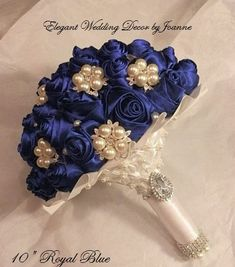 Love these silk roses and added bling! Maybe silk bridal bouquet? Wedding Brooch Bouquets, Bride Bouquets, Flower Bouquet Wedding, Sapphire Blue Weddings, Wedding Flower Guide, Blue Pearl, Wedding Colors, Marie, Wedding Decorations