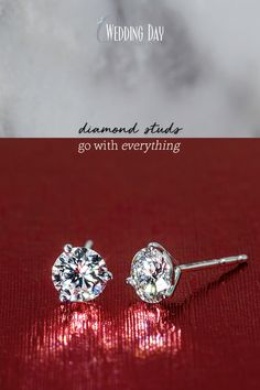 0bc8f81ae Dress them up or down, you can wear diamond studs with every outfit. Wedding  Day Diamonds