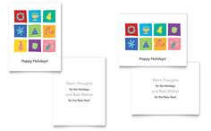 Holiday Icons Greeting Card Template by @StockLayouts