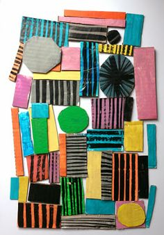 Marcus Oakley: Shapes & Colour, Black Patterns on Brightly Painted Cardboard Shapes