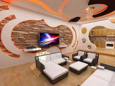 مزایا و مدل کناف،تصاویری از کناف Wall Partition Design, Tv Wall Design, Wall Unit Designs, Living Room Tv Unit Designs, Tv Unit Decor, Tv Wall Decor, Estilo High Tech, Plafond Staff, Men Home Decor