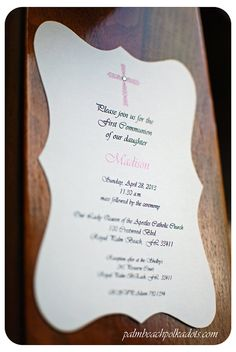 First Communion or Baptism Girls  invitation by palmbeachpolkadots,