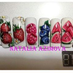 #nails #nailart #manicure Nail Ink, Gel Nail Art, Nail Manicure, Acrylic Nails, Nail Art Fruit, Gem Nails, Classy Nails, Super Nails, Flower Nails