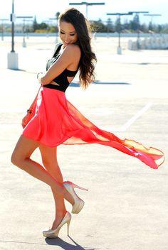 Coral summer skirt. Sheer shirt. Coral and black combination.