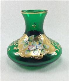 emerald green glassware and vases | ... Venetian Emerald Green Gold Gilt Hand Painted Enamel Glass Vase | eBay
