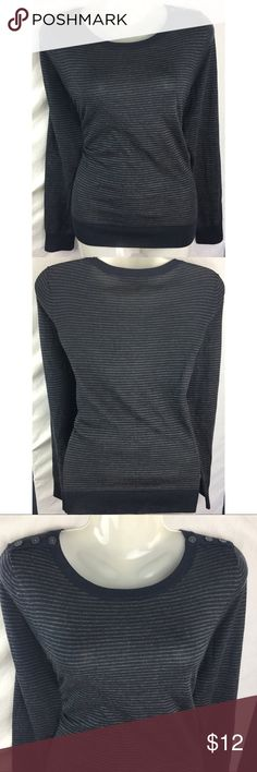 """Ann Taylor Loft Gray Knit Stripe Top Size Medium Ann Taylor LOFT woman's gray striped knit top size medium Style #: 70122  Material-  40% Acrylic 30% Wool  30% Polyester   Measurements- Bust: 40"""" Waist: 37"""" Length: 25""""     Customer service is my #1 priority! I strive to not only meet, but to exceed the standard. If for any reason you are unhappy with your order, I will make it right!      Thank you for supporting small business! LOFT Tops Blouses"""