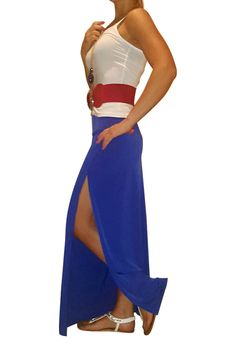 CLASSIC MAXI SKIRT WITH SLIT SIDES. COBALT BLUE, FROM SILVERGATE.