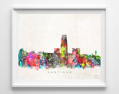 Santiago Skyline Print Chile Wall Decor Watercolor by InkistPrints