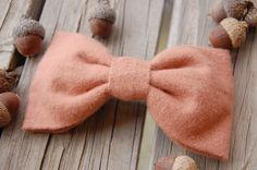 Rosy Mauve Flannel Bow Tie Hair Clip - Blush Rose Dusty Pink Soft Cotton - Made in France Barrettes - Woodland, Autumn, Fall. $11.25, via Etsy.