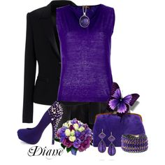 Black and Purple, created by diane-shelton on Polyvore