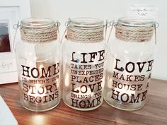 Glass slogan bottles with rope top and wire carrying handle Bottles come with 3 different phrases: 'Home is Where Our Story Begins'; 'Life Takes You Unexpected Places Love Brings You Home'; and 'Love Makes A House A Home' Bottles are tall. Presents For Mum, Gifts For Him, Birthday Crafts, Baking Ingredients, Cookie Dough, Slogan, Jars, Best Gifts, Shabby Chic