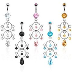 Clearance - Twin Circle Dangle Belly Ring