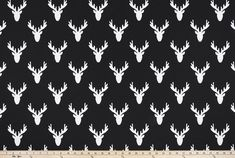 Antlers Black Fabric By Premier Prints Deer Fabric, Premier Prints, Property Brothers, Woodland Theme, Black Fabric, Antlers, Window Treatments, Man Cave, Playroom