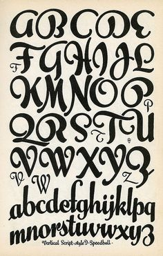 Unknown Designer, Vertical Script. This is possibly a digitally modified Font from an Old Type Specimen page. The lines are beautiful and flow well together. #FlowingFont Repinned from Pinterest
