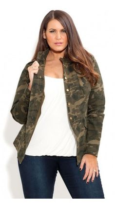 meet c6984 f3f59 Shop Women s Plus Size Women s Plus Size Camo Cool Jacket   City Chic USA