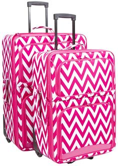 Ever Moda Pink Chevron 2 Piece Expandable Luggage Set *** Click image for more details.