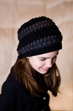 Black and Gray Striped Bobble Beanie on Etsy $20
