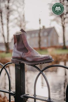 Tricker's Henry country dealer boot in burgundy museum calf. Finished on a durable commando sole. #trickershenry #dealerboots #robinsonsshoes Trickers Shoes, Robin, Calves, Burgundy, Spring Summer, Museum, Booty, Country