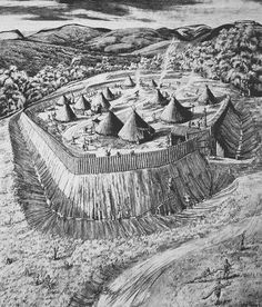 Conjectural reconstruction drawing of Hen Gaer Iron Age hillfort, Bow Street, near Aberystwyth Ancient Egyptian Art, Ancient Aliens, Ancient Greece, Historical Architecture, Architecture Details, Fantasy Places, Fantasy Art, Renaissance, Celtic Warriors