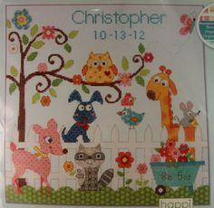 Cross Stitch Kit Dimensions Happi Backyard Animals Birth Record Announcement NIP #Dimensions #BirthAnnouncement