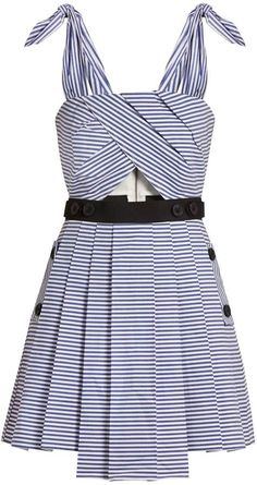 SELF-PORTRAIT Tie-shoulder striped cotton mini dress  Self-Portrait puts a whole new spin on sailor stripes for the new season. This blue and white cotton tie-shoulder mini dress features a cut-out waist panel and a full pleated skirt that combine to create a playful silhouette that's perfect for high summer. Pick out the black waist and button details with same-tone accessories.$255