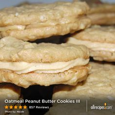 "Oatmeal Peanut Butter Cookies III | ""I missed Girl Scout cookie season and was craving the peanut butter sandwich cookies when I found this recipe. A great cookie!"""