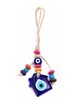 Turkish Evil Eye Home Amulet. Handmade Beads Amulet. Hang this lucky amulet inside your house or on your front door. An amulet, charm or object carried for protection from evil. illness or harm. Or an object to bring good luck.    Weight: 80.00 g / 2.82 oz Dimension: Width 4.80 cm / 1.89 in | Height 21.50 cm / 8.46 in   Evil-Eye Home Amulet by Evil Eye Store. Home & Gifts - Home Decor - Wall Art New York