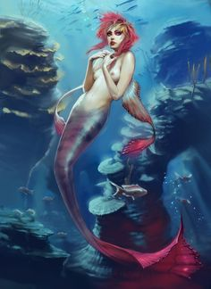 Jace Wallace is an artist and illustrator that you need to know about. His work runs the gamut from fantasy to fashion & design to concept art and focuses Fantasy Mermaids, Mermaids And Mermen, Siren Mermaid, Mermaid Art, Dark Mermaid, Fantasy Creatures, Mythical Creatures, Mythological Creatures, Character Art