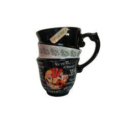 Disney Parks Alice in Wonderland Triple Quotes Stacked Ceramic Tea Cup Mug