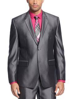 Mens Suit Silver Dark Grey Shiny 3 Piece Work Wedding Party Suit ...