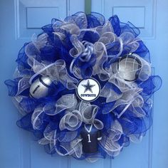 Your place to buy and sell all things handmade Football Crafts, Football Wreath, Football Decor, Cowboys Football, Dallas Cowboys Wreath, Dallas Cowboys Baby, Tulle Wreath, Diy Wreath, Wreath Ideas