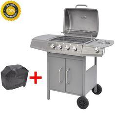 4+1 Edelstahl Gas Grill BBQ Grillwagen Brenner Seitenkocher Silber Gartengrill
