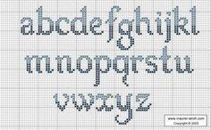 Darling Make Alphabet Friendship Bracelets Ideas. Wonderful Make Alphabet Friendship Bracelets Ideas. Cross Stitch Alphabet Patterns, Alphabet Charts, Embroidery Alphabet, Cross Stitch Letters, Cross Stitch Boards, Cross Stitch Designs, Embroidery Patterns, Cross Stitch Font, Stitch Patterns