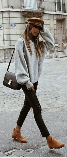 #fall #outfits grey sweater leather pants brown boots hat