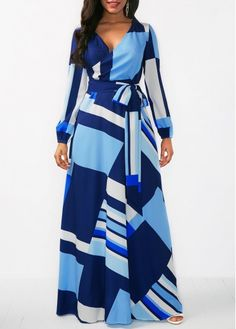Belted Long Sleeve V Neck Maxi Dress