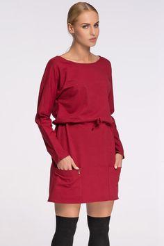 f95a8e74f8 Stylowa sukienka damska. - dekolt okrągły - rękaw długi typu kimono - z  przodu duże kieszenie - w pasie wiązanie świetnie podkreślające talię   modadamska ...