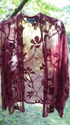 SEXY SILK CLUB COLLECTION BURGUNDY SILK BLEND BLOUSE LINGERIE SEE THROUGH SZ 2X #silkclubcollection #Blouse #lingerie