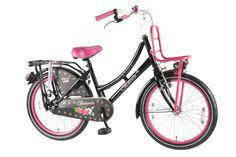De Volare Oma Cherry is Winnaar ANWB Test 2012, categorie meisjes 20 inch. De Volare omafiets is al jaren een verkoopsucces. Nu in de super mooie kleurstelling glitter zwart met glitter roze, met moderne voordrager en met originele klapstandaard. Natuurlijk de Volare top kwaliteit. De fiets heeft batterij verlichting voor en achter en extra brede banden. Wat een schitterende fiets, al zeggen wij het zelf.