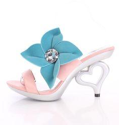 Pink open toe slide sandals Blue Gemstone Flower silver Heart shape Heels size 7 #Allens #Slides #bridalweddingprompartyclubwear