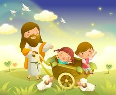 Jesus Christ wall graphic decal of Him carting 2 children around in a wheelbarrow.