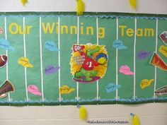 Our Winning Team Bulletin Board (from Bulletin Board RoundUP via RainbowsWIthinReach) change to a soccer field of course Team Bulletin Board, Football Bulletin Boards, Welcome Bulletin Boards, Christmas Bulletin Boards, Reading Bulletin Boards, Winter Bulletin Boards, Back To School Bulletin Boards, Preschool Bulletin Boards, Preschool Classroom