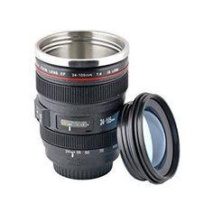 Mug objectif de camera -  La caméra Tasse Lens est une réplique étonnante de la Canon EF24-105mm f / 4L IS USM. Matières plastiques premium ABS coquille et extérieur caoutchouté pour une prise ferme. Et l'intérieur est fabriqué en acier inoxydable de qualité. Ceci est un VRAI TUMBLER le fond de cette tasse a une ventouse