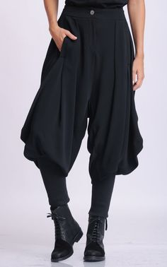 NEW Black Drop Crotch Pants/Loose Maxi Pants/Extravagant Plus Size Trousers/Black Harem Pants/Black Gypsy Pants/Oversize Long Trousers Kleidung Design, Maxi Pants, Gypsy Pants, Drop Crotch Pants, Cool Outfits, Fashion Outfits, Character Outfits, Costume Design, Aesthetic Clothes
