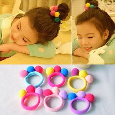 Cheap girls hair accessories, Buy Quality fashion hair accessories directly from China hair accessories Suppliers: Hot Sale 2017 New Cute 3 Balls Elastics Hair Holders Bands Gum Fashion Kids Candy Rubber Bands Headwear Girl's Hair Accessories Kawaii Accessories, Girls Hair Accessories, Diy Hair Bows, Diy Bow, Fashion Kids, Cheap Fashion, Style Fashion, Fashion Pattern, Pom Pom Crafts